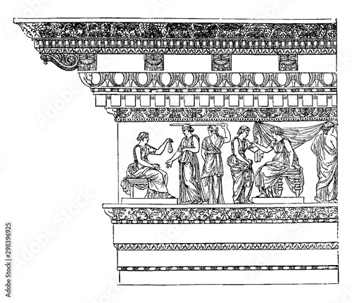 Corinthian Entablature from the Nerva at Rome, Simple styles, vintage engraving Wallpaper Mural