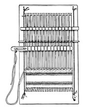 Complete Pin Loom, The Pins Holding The Thread To The Loom And The Top And Bottom, Vintage Engraving.