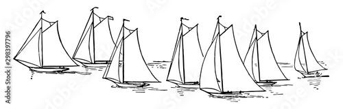 Seven Sailboats, vintage illustration Fototapeta