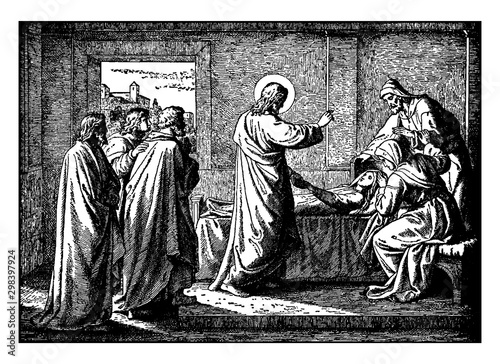 Valokuvatapetti Jesus Resurrects the Daughter of Jairus, Ruler of the Synagogue vintage illustration