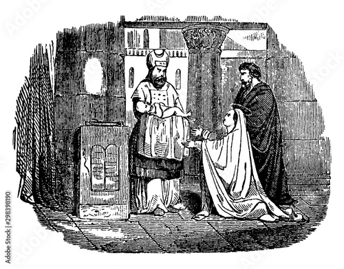 Fotografija Presentation of Jesus in the Temple vintage illustration.