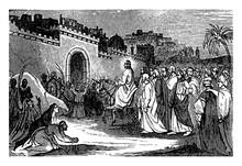 The Triumphal Entry Of Jesus Into Jerusalem Vintage Illustration.
