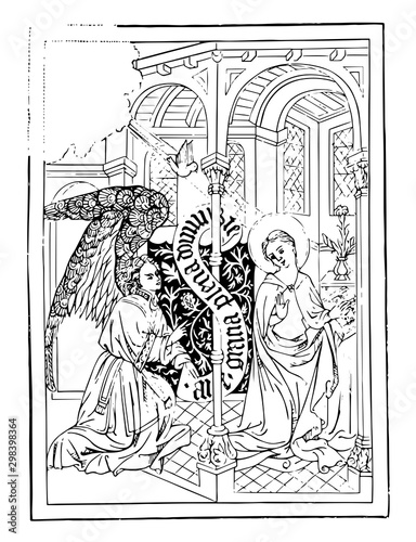 Photo The Annunciation is an engraving, vintage engraving.