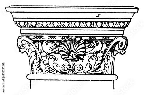 Vászonkép Corinthian Pilaster Capital, elements,  vintage engraving.