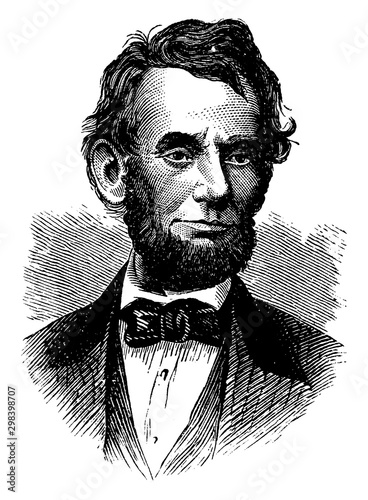 Abraham Lincoln, vintage illustration Poster Mural XXL
