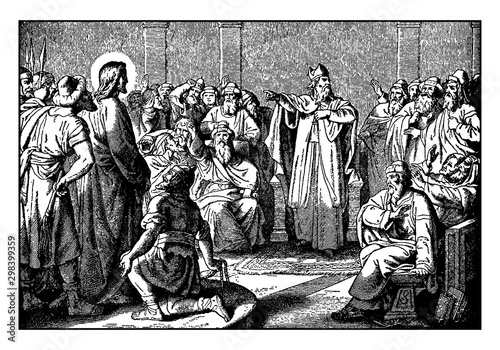 Fototapeta Jesus Appears Before Caiaphas, the High Priest vintage illustration