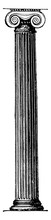 Ionic Pillar In The Erechtheum At Athens, Support,  Vintage Engraving.