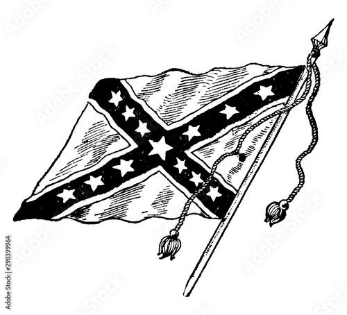 The Confederate Battle Flag, vintage illustration Canvas Print