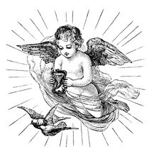 Cherub With Hourglass Vintage ...