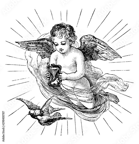 Canvas Print Cherub with Hourglass vintage illustration.