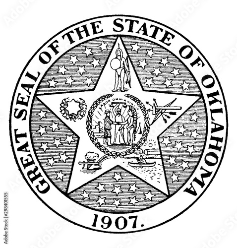 Fotografie, Obraz The Great Seal of the State of Oklahoma, 1907, vintage illustration