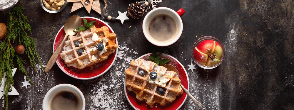 Fototapety, obrazy: Christmas breakfast with waffles.