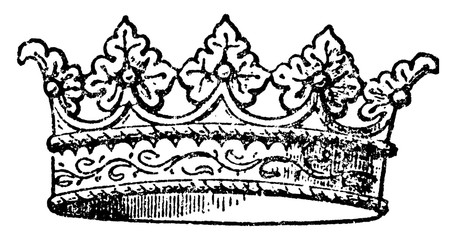 Coronet is a small crown, vintage engraving.