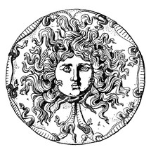 Farnese Medusa Head Dish Is An Onyx Patera Or Black Dish, Vintage Engraving.