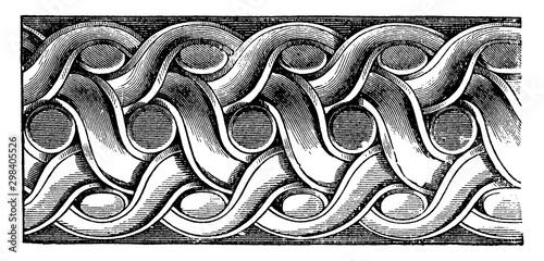 Photo Double Twist , margin,  vintage engraving.