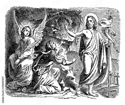 Fotografia Jesus Appears to Mary Magdalene Outside the Tomb vintage illustration