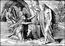 Jesus Appears To Mary Magdalene After His Resurrection Vintage Illustration.