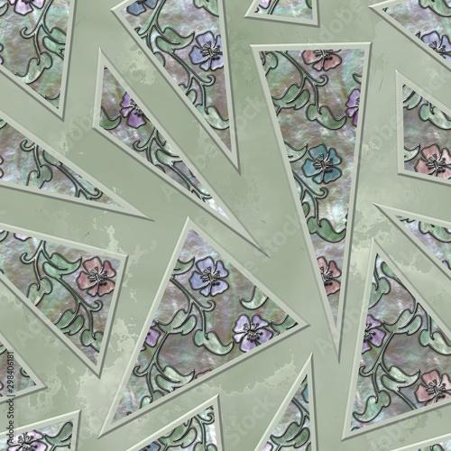 trojboka-i-kwiatow-wzor-na-rzezbiacej-grunge-tla-bezszwowej-teksturze-3d-ilustracja