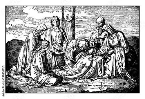 Photo Jesus is Taken Down from the Cross and is Attended by Mary, Joseph of Arimathaea, and Nicodemus vintage illustration