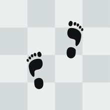 Foot Track On Floortile Vector...