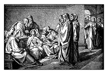 Mary And Joseph Find Jesus Learning And Teaching In The Temple Vintage Illustration.