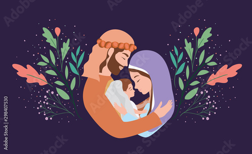 cute holy family manger characters Wallpaper Mural