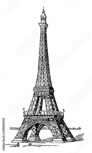 Eiffel Tower, first and second levels,  vintage engraving.