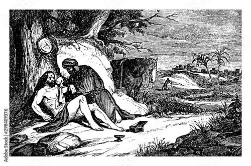 The Good Samaritan Binds the Wounds of an Injured Man vintage illustration Canvas Print