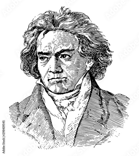 Ludwig van Beethoven, vintage illustration Canvas Print