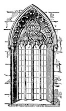 Gothic Style Window Or Romanesque Architecture,  Vintage Engraving.