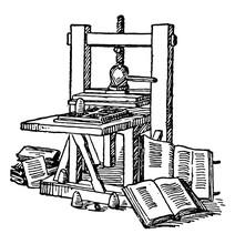 Gutenberg Printing Press, Vintage Illustration.