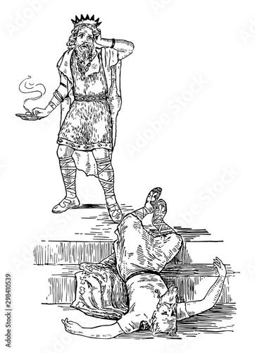 Photo  Olaf and Nornagesta vintage illustration.