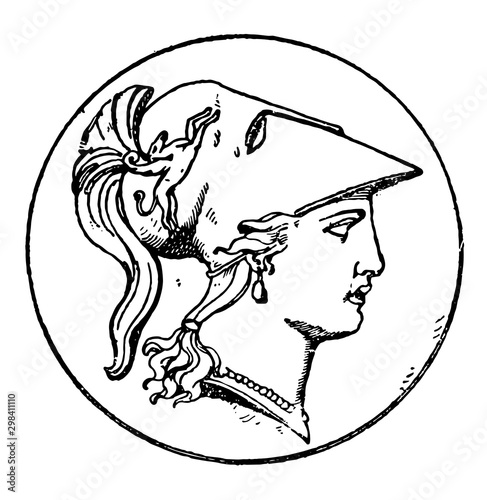 Cuadros en Lienzo Right Minerva Head vintage illustration.