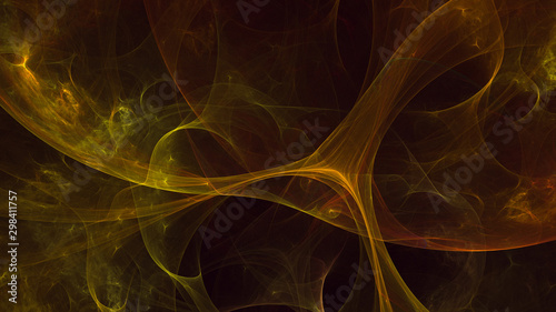 Deurstickers Fractal waves Fractal 3D rendering abstract gold bright background