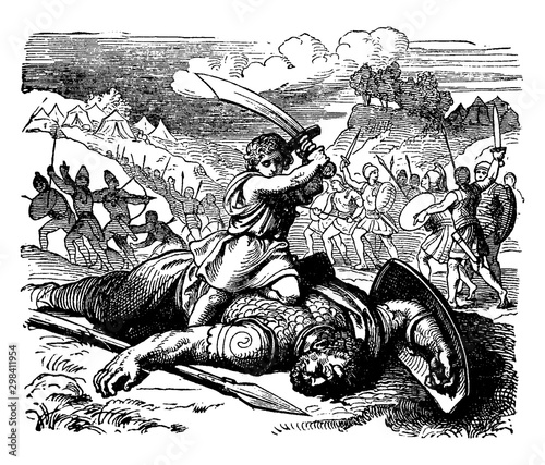 David Slays Goliath vintage illustration. Tablou Canvas