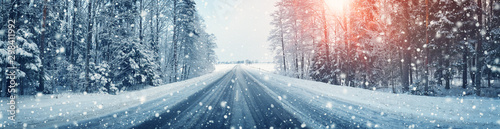 Obraz winter road, covered with snow on sunny day - fototapety do salonu