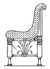 Egyptian Chair With Patterned Material Have Very Antique Pattern, Vintage Engraving.