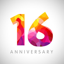 16 Th Anniversary Numbers. 16 Years Old Yellow Coloured Logotype. Age Congrats, Congratulation Idea. Isolated Abstract Graphic Web Design Template. Creative 6, 1 Digits. Up To 16% Percent Off Discount