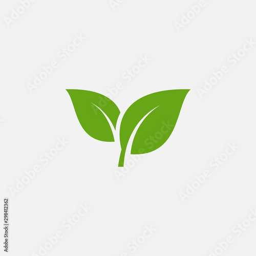 Fotomural Green leaf ecology nature element vector icon, Leaf Icon, green leaf ecology nat