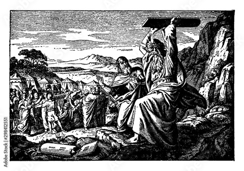 Fotomural Moses Breaks the Stone Tablets on Which the Ten Commandments are Written vintage illustration