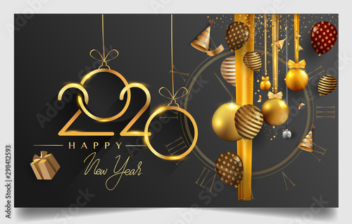 Happy New Year 2020 - New Year Shining background with gold clock and glitter Tableau sur Toile