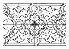 Byzantine Interlacement Band Consists Of Wavy Arcs, Vintage Engraving.