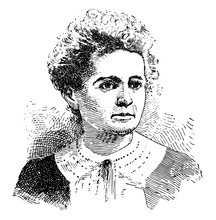 Marie Curie Vintage Illustration.