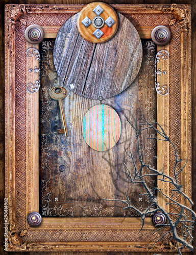 Tuinposter Imagination Gothic and abstract background with surreal window and frame