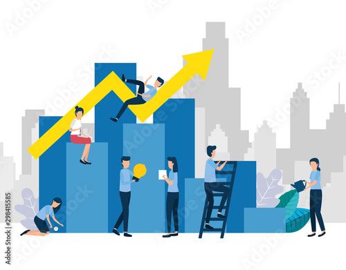 teamwork workers standing in infographic vector illustration design Fototapet