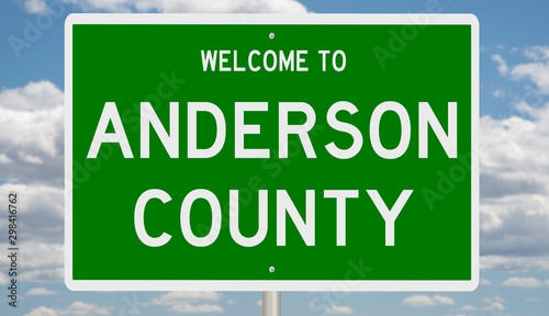 Photo Rendering of a green 3d highway sign for Anderson County