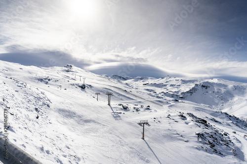 Fotografie, Obraz Ski resort of Sierra Nevada in winter, full of snow.