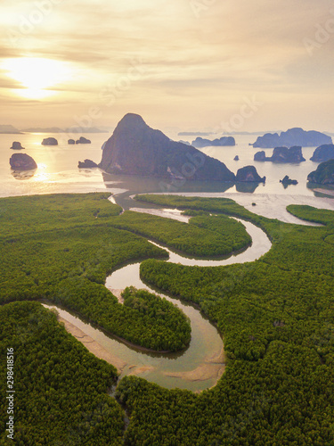 Foto auf Gartenposter Beige Aerial top view of Samet Nangshe, mountain valley hills, and tropical green forest trees at sunset with Andaman sea in Phang Nga Bay in summer, Thailand in travel trip. Natural landscape background.