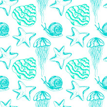Water Living Creatures Vector Seamless Pattern. Marine Decorative Wallpaper