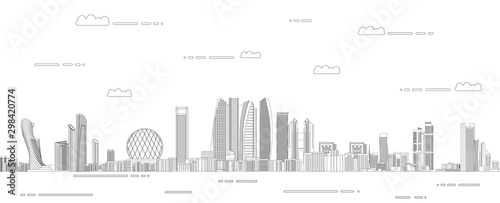 Abu Dhabi cityscape line art style detailed vector illustration Canvas Print